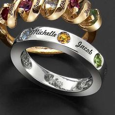 Family ring with names...i LOVE the band design & thickness (not the layout of names & stones)