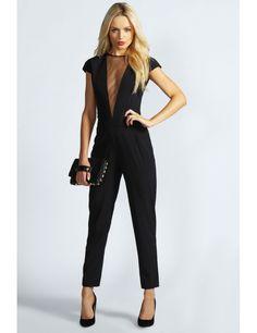 Salopeta eleganta neagra Mesh Insert http://www.mujer.ro/salopeta-eleganta-neagra-mesh-insert   #shopping #shoppingonline #fashion #moda #haine