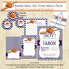 Basketball Chevron Sports Baby Shower Invitation Mega Pack, Navy Blue and Orange, Printable, Digital file, DIY, with Instant Download Items
