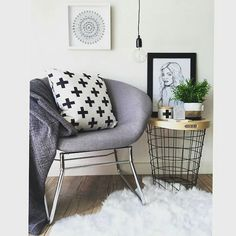 @artisticlifestyle1 has created another beautiful space. Featuring @kmartaus grey chair and fur rug.