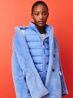 J. Crew The Teddy Coat in Plush Fleece, Mountain Puffer Vest and Everyday Cashmere Crewneck Sweater