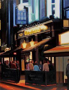 "The Grand Dame, Comptons of Soho, London by Michael John Ashcroft Oil ~ 20"" x 16"""