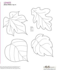 Nice templates for leaves! Mollie makes, Felt Leaf Template--cut out of craft foam to make stamp or embossing plate. Wool Applique, Applique Patterns, Craft Patterns, Felt Patterns Free, Pattern Ideas, Felt Flowers, Fabric Flowers, Paper Flowers, Craft Flowers