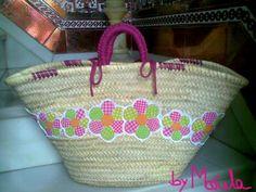 cesta compra ecológica flores patchwork cesta pleita,tejido,hilo y trapillo aplicaciones a mano