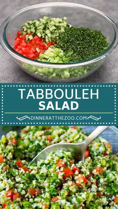 Tabbouleh salad with bulgur wheat, tomatoes, cucumber and herbs in a lemon dressing. Tabbouleh salad with bulgur wheat, tomatoes, cucumber and herbs in a lemon dressing. Chicken Salad Recipes, Healthy Salad Recipes, Vegetarian Recipes, Cooking Recipes, Healthy Broccoli Salad, Avocado Salad Recipes, Salad Chicken, Whole30 Recipes, Veggie Recipes