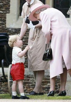 Queen Elizabeth leans in to have a conversation with her great-grandson, Prince George on July 5, 2015