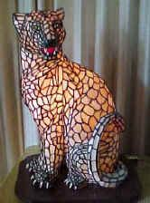 Stained Glass Cat Lamp, by Arkie Pisello