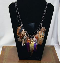 Long Tribal Feather Necklace with Black Beads by GinaGrantsJewelry, $46.00