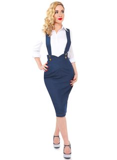 6227a0b9bf Our 'Dixie Doll' 1950's style pinafore skirt in denim has adjustable and detachable  braces