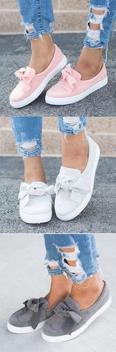 153a00df24db Shoespie Stylish Round Toe Bow Slip-On Flat Loafers Sneaker Heels