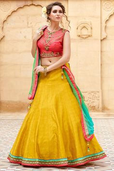 Shop Zelly Creation Yellow  Embroidred Banglori Silk Lahenga Choli by Monsoon Dhamaka online. Largest collection of Latest Lehangas online. ✻ 100% Genuine Products ✻ Easy Returns ✻ Timely Delivery