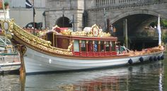 The Royal Barge in The special 1000 boat procession on the Thames based on Canaketto's Mayor's procession a pagent from 1700's for HRH Queen Elizabeth ll Jubilee.