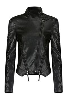 Faux Leather Jacket with Front Zippers - US$53.95 -YOINS