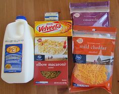 Ingredients:  2 cups macaroni, uncooked  4 cups milk (2% or higher)  4 tbsp. salted butter, melted  1 tsp. table salt  8 oz. Velveeta cheese, cubed or shredded  4 cups shredded cheese (2 cups cheddar, 2 cups mixed cheeses)
