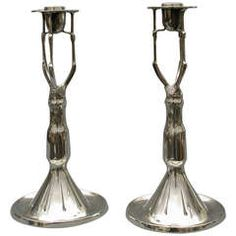 Pair of German Pewter Candlesticks by Walter Scherf & Co., c. 1905