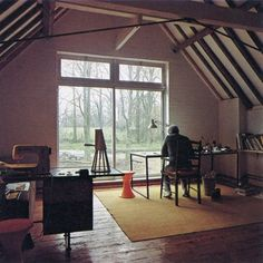 Love the huge window with a view.  That would be a great sewing studio.