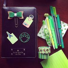 #ShareIG Day 3 ~ Green #pcape #planner #happiemail #happieplanner #katespade #katespadeagenda #filofax #filofaxlove