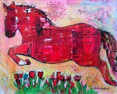 Jumping Flying Horse Original Painting by Caren Goodrich by caren