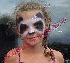 Panda face painting soft strokes
