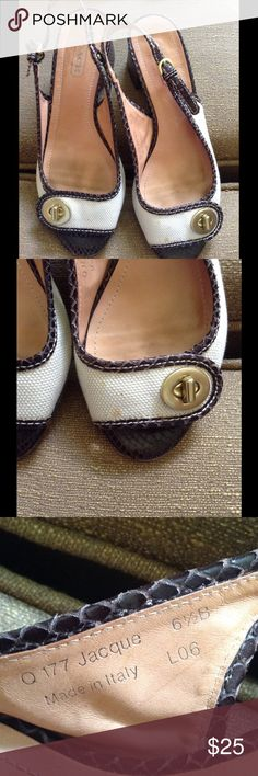 """COACH sandals Good used condition except for few little marks see second pic it can be cleaned the materials are canvas and snake skin 2"""" wide heels and that makes these sandals comfortable Coach Shoes Sandals"""