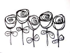 Desenho simples// flores// rosas