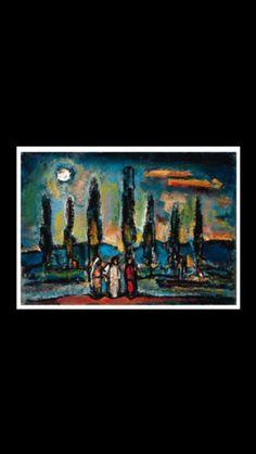 """Georges Rouault - """"Paysage biblique (aux sept arbres)"""",1935/40 - Oil on paper laid down on canvas - 36,8 x 52,10 cm  (*)"""