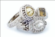 GALACIA DESIGNER JEWELRY- A  collection of natural white, yellow and brown rose-cut centre diamonds, diamond pavé and hand engraved shanks.