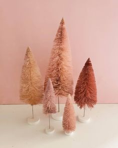 set of 5 pink trees Christmas Mood, Merry Little Christmas, All Things Christmas, Instagram Christmas, Pink Trees, Colorful Christmas Tree, Happy Birthday Jesus, Merry And Bright, Xmas Decorations