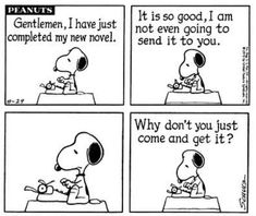 Snoopy the writer -- Peanuts comics Writing Comics, Writing Humor, Fiction Writing, Writing Quotes, Snoopy Love, Charlie Brown And Snoopy, Snoopy And Woodstock, Snoopy Cartoon, Snoopy Comics
