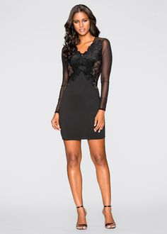 Vestido tubinho com renda preto/marrom-claro encomendar agora na loja on-line bonprix.de  R$ 129,00 a partir de Sucesso garantido! Vestido tubinho ...