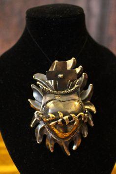 Small Reliquary Pendant Enhancer Sacred Heart Alpaca Sliver Mexican Folk Art