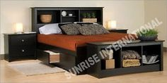 Wooden-King-Size-Double-Bed-with-4-storage-drawers-and-headboard-shelves