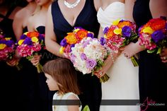 soft & romantic for the bride explosion of color for the girls, hydrangea, roses, calla lilies & lissianthus