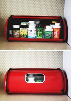 Bread box as pill bottle storage - keep kitchen looking nice. Just don't use if children are in the home. Medicine Storage, Medicine Organization, Kitchen Organization, Kitchen Storage, Storage Organization, Organize Medicine, Storage Ideas, Organisation Ideas, Organizing Ideas