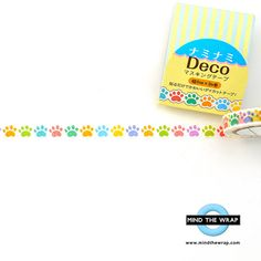 Paws Die-Cut Washi Tape - 8mm Narrow, Very Small Very Cute - Japanese Nami Nami - Perfect size for Planners, Paw Prints