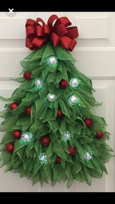 Christmas tree wreath christmas wreath with lights winter wreath deco mesh wreath festive front door wreath deco mesh christmas tree Mesh Christmas Tree, Christmas Wreaths With Lights, Holiday Wreaths, Winter Christmas, Christmas Ornaments, Burlap Christmas Decorations, Christmas Door Hangings, Winter Wreaths, Diy Christmas Ribbon Wreath