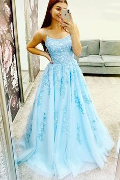 R&Bwedding Ladies' Lace Appliques Prom Dresses Long Spaghetti Straps Lace-up Back Sleeveless Formal Evening Party Gowns A Line Prom Dresses, Tulle Prom Dress, Dresses For Teens, Dance Dresses, Lace Dress, Evening Dresses, Formal Dresses, Grad Dresses, Popular Dresses