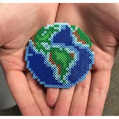 The Earth perler beads by the_original_perler Completed and extending on Minecraft Hama Beads Design, Diy Perler Beads, Perler Bead Art, Pearler Beads, Hama Beads Coasters, Melty Bead Patterns, Pearler Bead Patterns, Perler Patterns, Beading Patterns