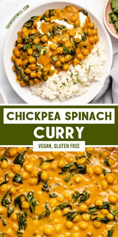 This quick and easy vegan Chickpea Spinach Curry is a great dinner option for busy weeknights! Made with coconut milk and warming spices, you will love this creamy, comforting dish. It's perfect for meal prep too! High Protein Vegetarian Recipes, Superfood Recipes, Vegetarian Recipes Dinner, Vegan Dinners, Healthy Dinner Recipes, Vegetarian Cooking, Drink Recipes, Healthy Food, Chickpea And Spinach Curry