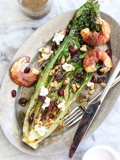 Grilled Romaine Salad with Prosciutto Wrapped Shrimp