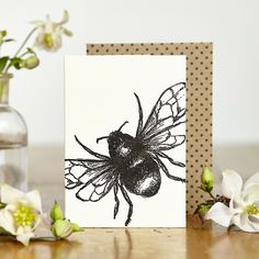 Hand printed mini greetings card with original Bumble Bee illustration. Proudly made in England.