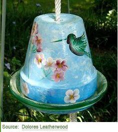 Hand Painted Bird Feeder | Garden Crafts & Yard Art