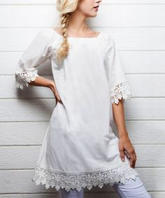 Look at this #zulilyfind! Color Lounge White Lace Off-Shoulder Dress by Color Lounge #zulilyfinds