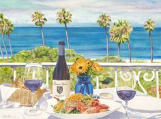 "Lunch at Valencia 30""x22"" Cara Brown - Life in Full Color www.lifeinfullcolor.com"