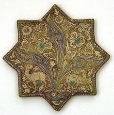 Iran Star Tile, century Fritware painted in blue and turquoise in an opaque white glaze, with lustre over the glaze Tile Art, Mosaic Tiles, Tile Painting, Art Nouveau, Iranian Art, Turkish Art, Iron Work, Tile Patterns, Islamic Patterns