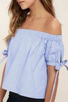Lulus Exclusive! Feel the wind in your hair in the Smooth Seas Blue and White Striped Off-the-Shoulder Crop Top! Lightweight woven cotton shapes an elasticized off-the-shoulder neckline, and short sleeves with cute tying cuffs. Cropped, wide-cut bodice.
