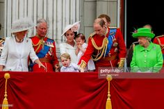 Camilla, Duchess of Cornwall, Charles, Prince of Wales, Catherine, Duchess of Cambridge, Princess Charlotte, Prince George and Prince William, Duke of Cambridge, Queen Elizabeth II and Prince Philip, Duke of Edinburgh stand on the balcony during the Trooping the Colour, this year marking the Queen's official 90th birthday at The Mall on June 11, 2016 in London, England. The ceremony is Queen Elizabeth II's annual birthday parade and dates back to the time of Charles II in the 17th Century…