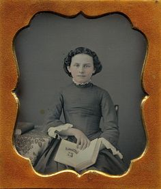 Young Woman Displaying Illustration in Open Book Beautiful 1 6 Daguerreotype | eBay