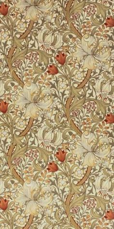 Golden Lily wallpaper designed by William Morris. Most of the wallpaper and fibre created by William Morris are inspired by nature. I think it's gonna go well with tinted down interiors William Morris Wallpaper, William Morris Art, Morris Wallpapers, Lily Wallpaper, Fabric Wallpaper, William Morris Patterns, Motifs Textiles, Jugendstil Design, Art Japonais