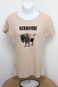 Vegan Hemp and Organic Cotton T Shirt Junior Sizes Slim Fit Herbivore Vegetarian Elephant American Bison Vegetables Uncle Sam Cupcakes Beige